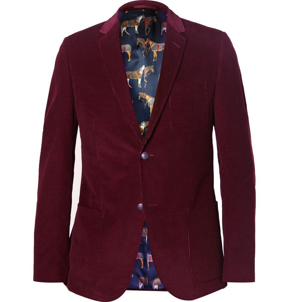 f4094d0a785 Gucci - Burgundy Slim-Fit Corduroy Blazer