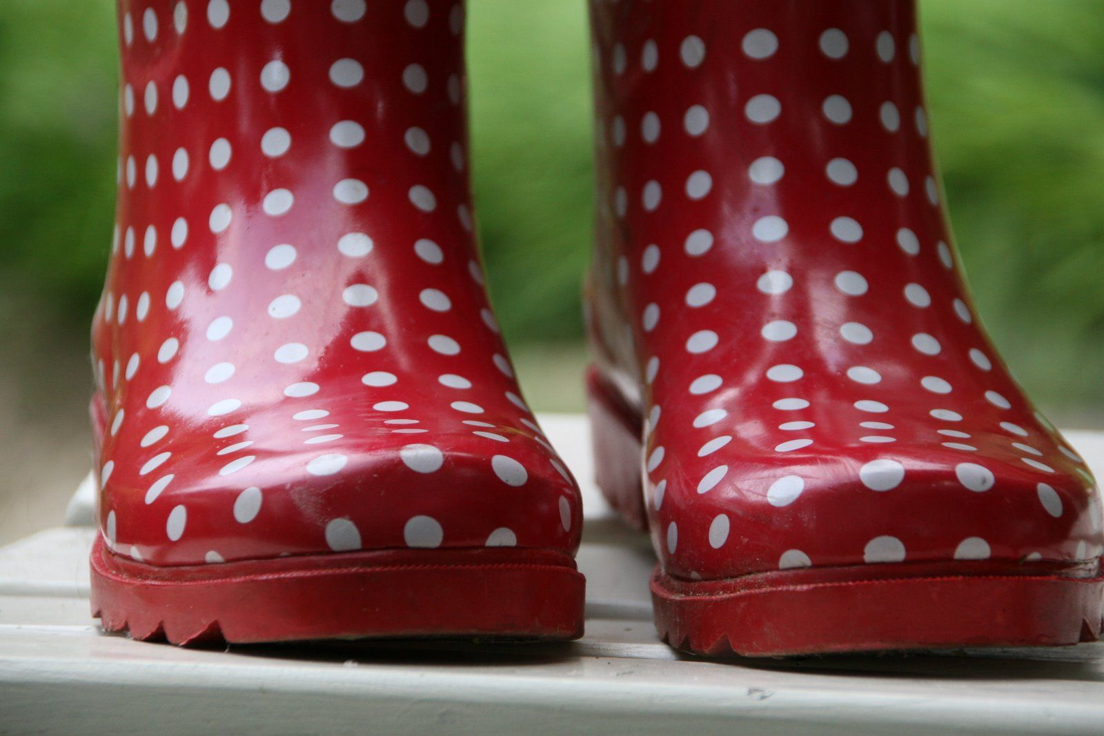 Red Polka-Dot Wellies - oh how I wish I had red ones instead of black polka-dots :)