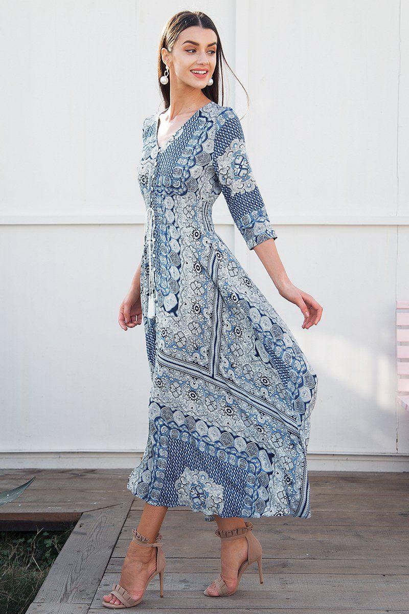ea9f8834a883 Half sleeve print summer dress long Elastic causal beach women dress maxi  2018 Spring button boho dress female vestidos Material: Viscose Silhouette:  Fit ...