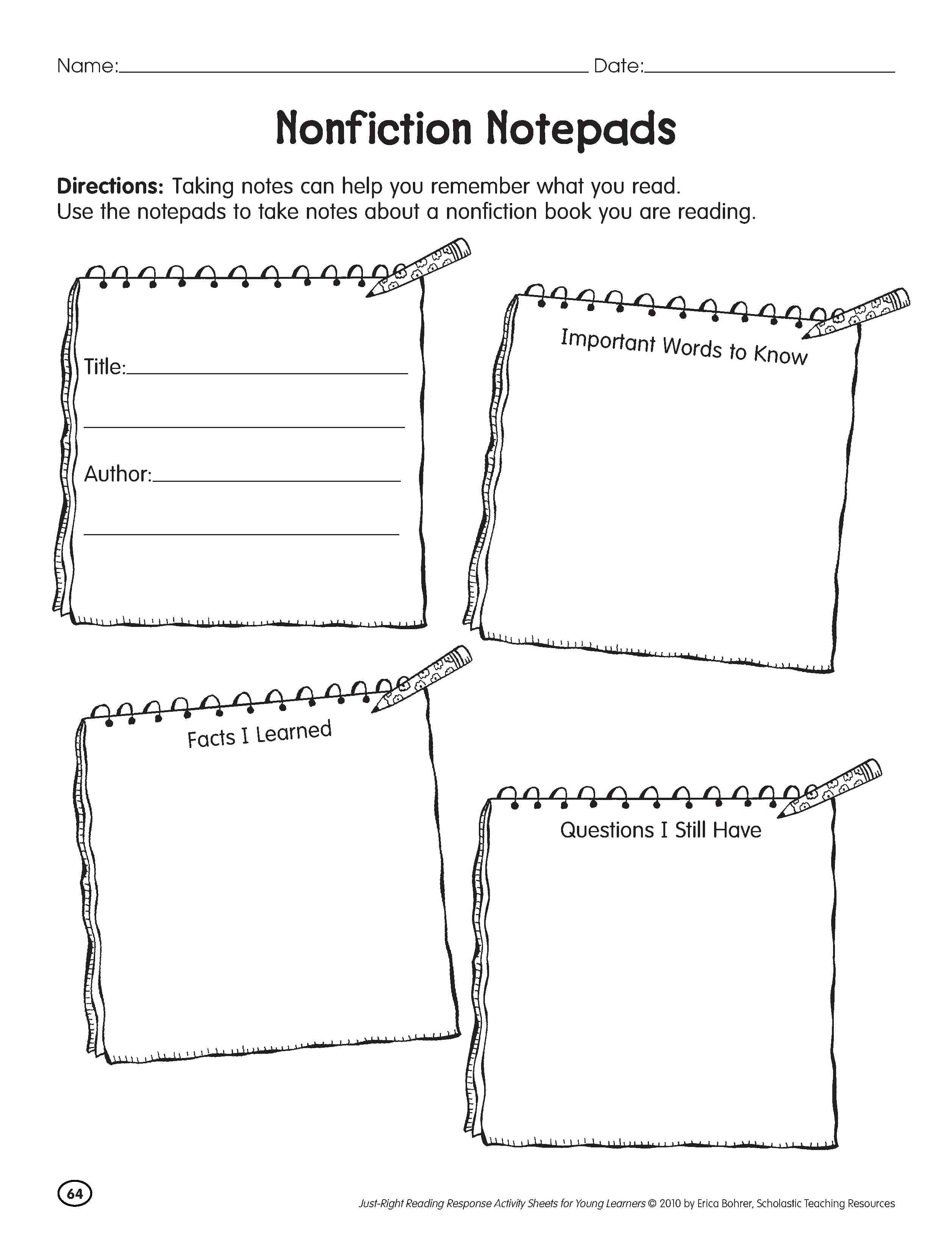 worksheet Nonfiction Reading Comprehension Worksheets investigating nonfiction notepad teaching social notepad