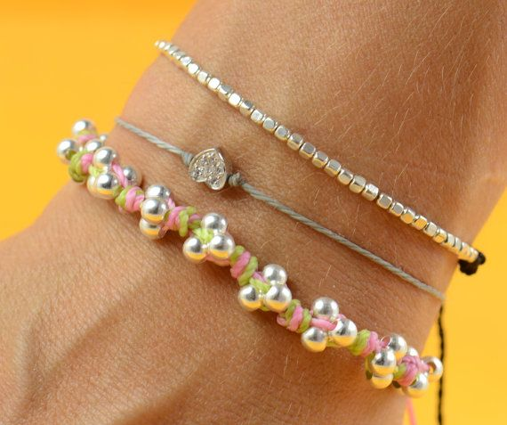 Sterling silver  beads  bracelet. $25.50, via Etsy.