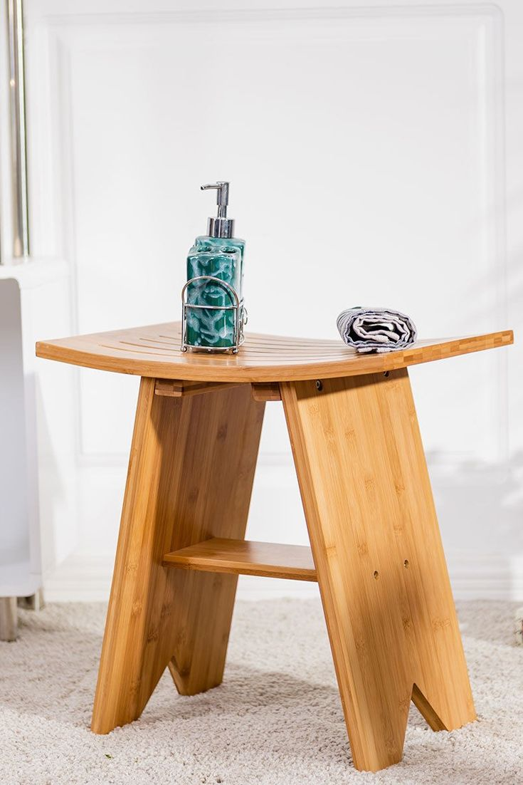 Wooden Shower Bench w/ Storage Shelf Bath Stool Chair Seat Bathroom ...