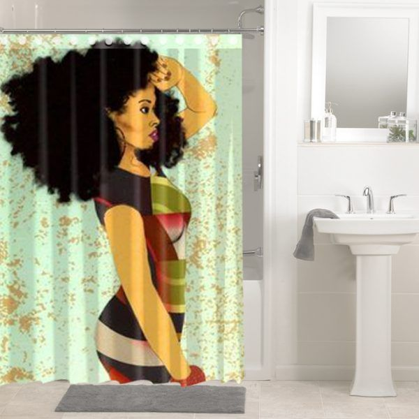 Afrocentric Afro Hair African Women 1448 Shower Curtain
