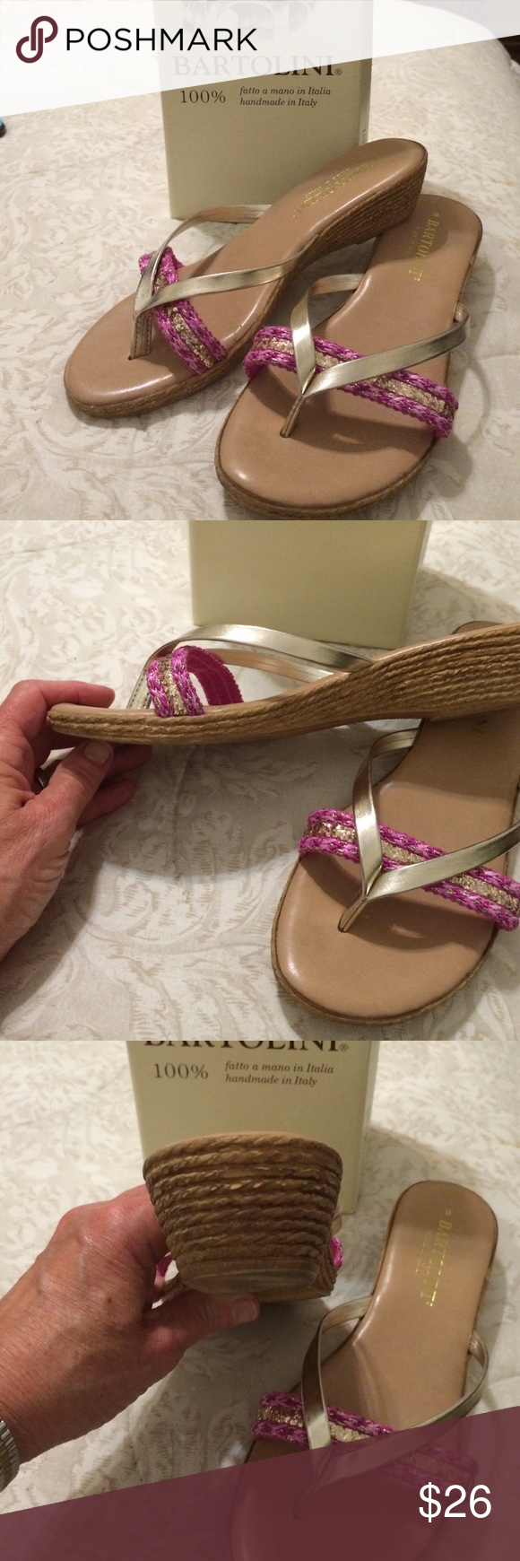"""Gold and pink wedge 1"""" heel Gold and pink wedge 1"""" heel Made in Italy Bertolini Shoes Wedges"""