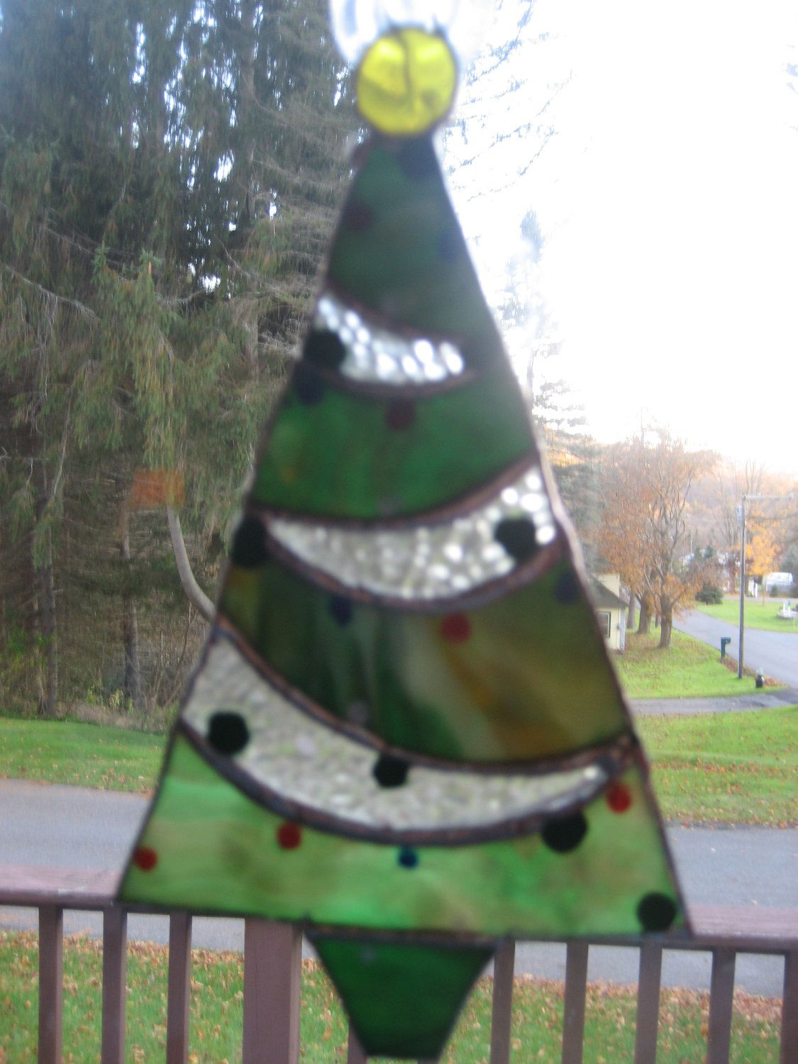 Stained Glass Christmas Tree Ornament.
