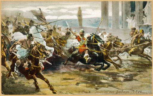 The Fall of Rome, Alaric's Visigoths ride exuberantly into Rome.