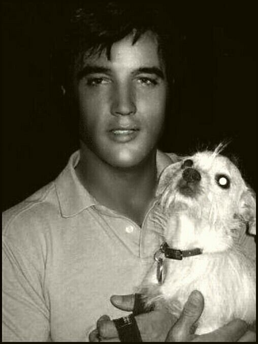 Elvis Presley and his family dog!