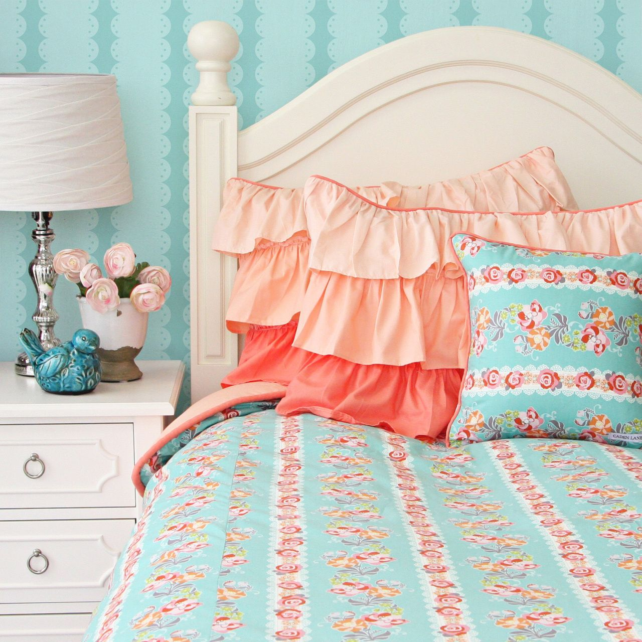 Caden Lane Baby Bedding Lovely Coral Lace Duvet Http - Coral colored comforter set for queen bed