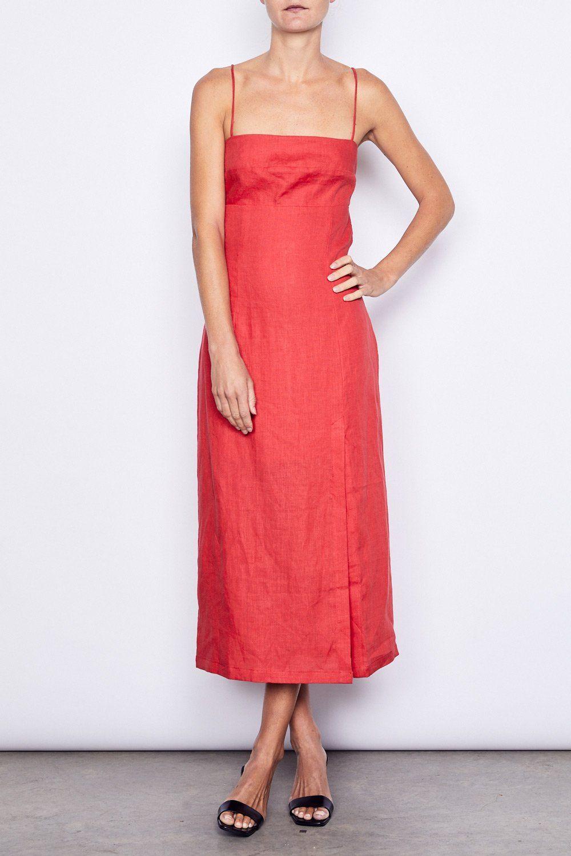 65a819b7b337 Paris Midi Dress in Red Linen by MLM LABEL