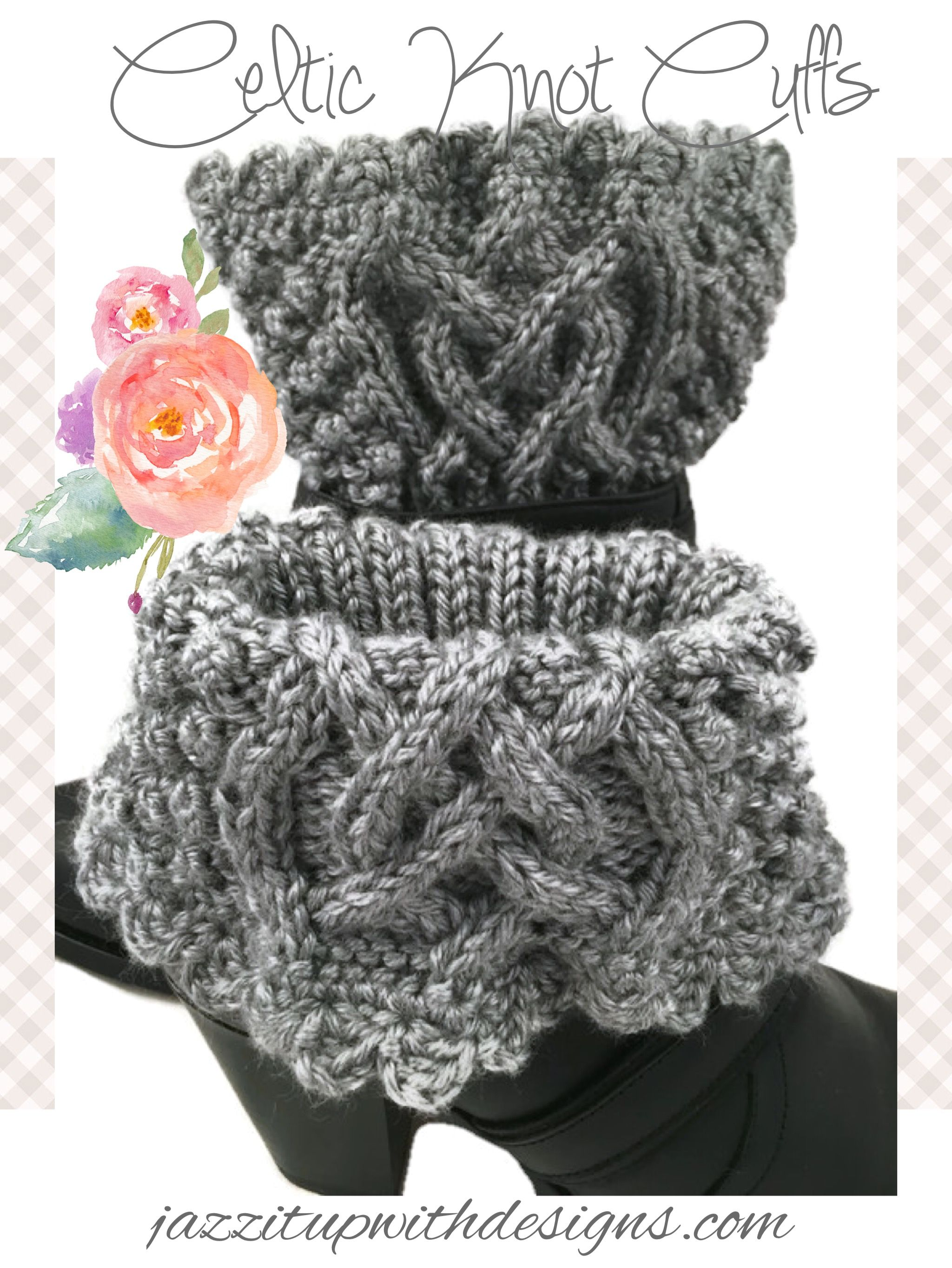 Gray Heather Boot Cuff Irish Celtic Knot Ladies Caron Simply Soft Yarn #cpromo