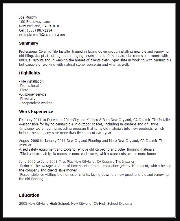 tile installer resume sample resume