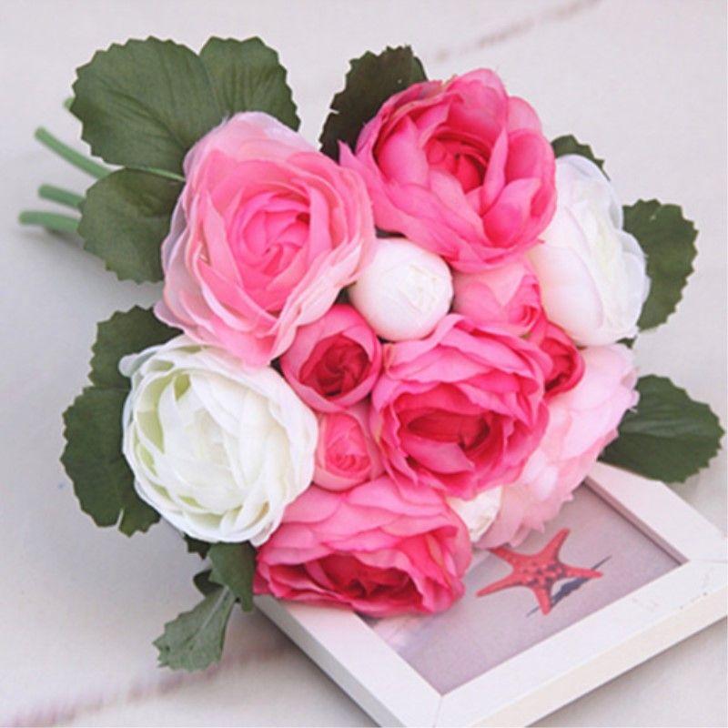 13 Heads Bridal Bouquet Artificial Flowers Wedding Decoration Bride ...
