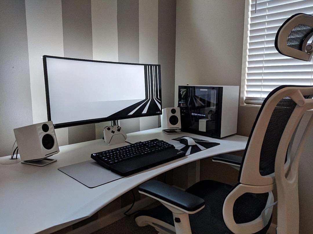 Pcgamefunny Gaming Desk Setup Gaming Room Setup Desk Setup