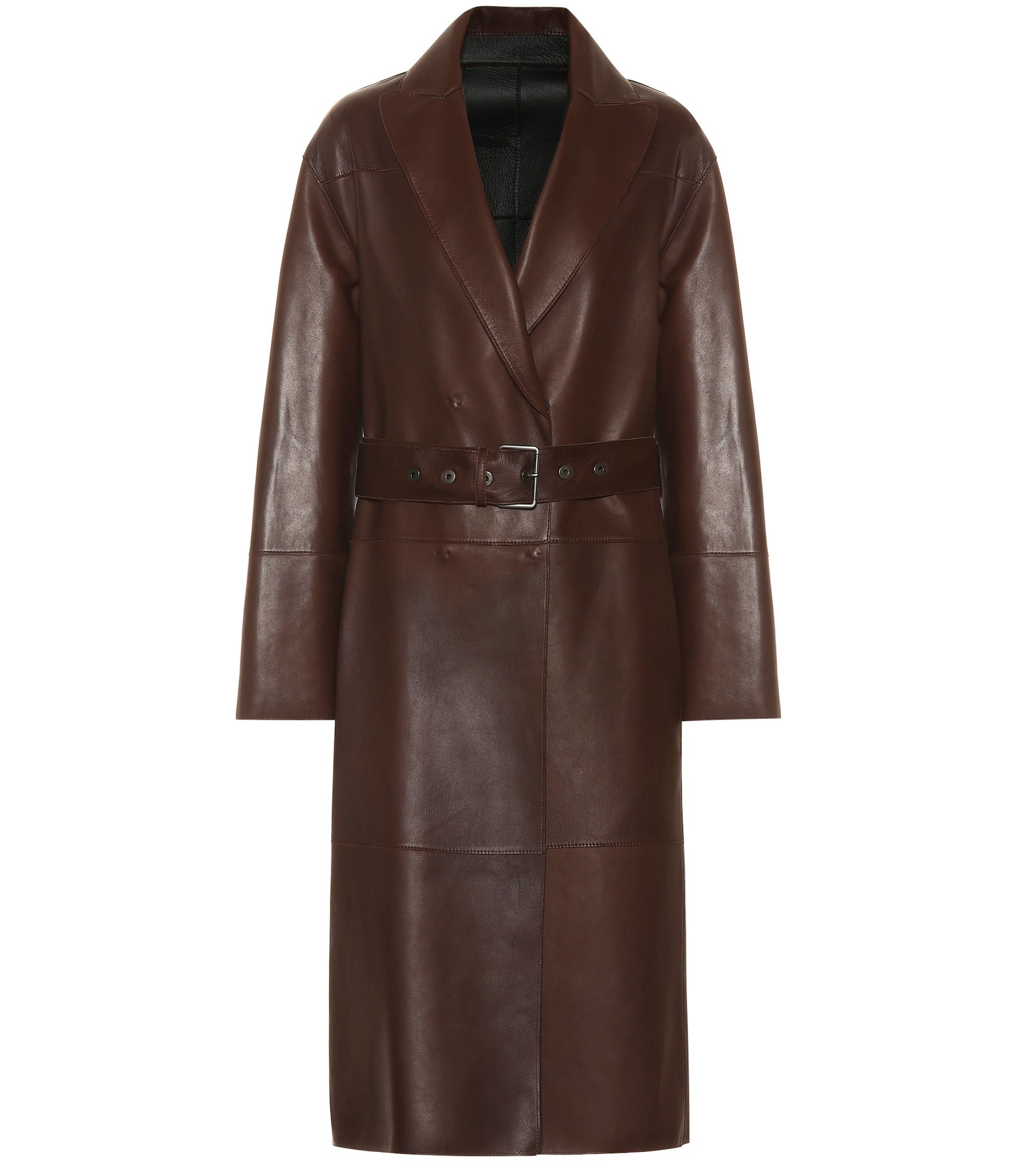 Brunello Cucinelli chocolate brown leather trench coat in