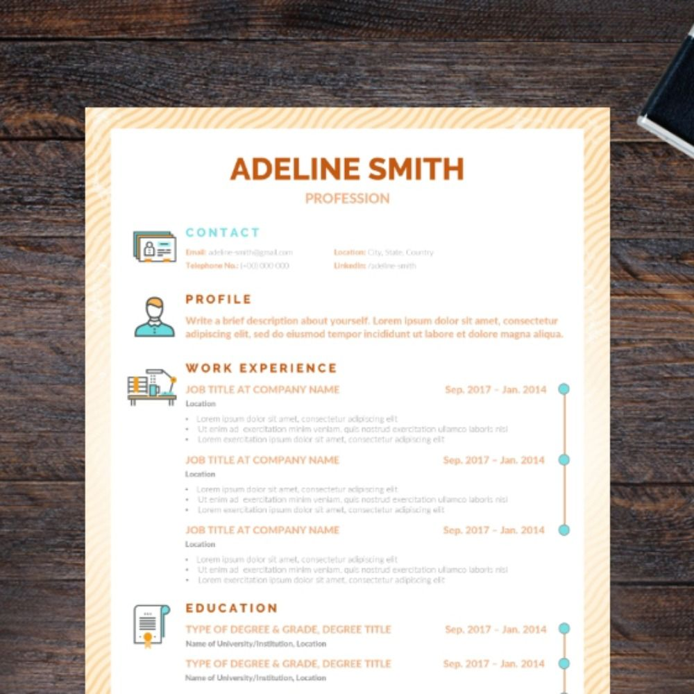 By using graphic icons, this resume template is full of