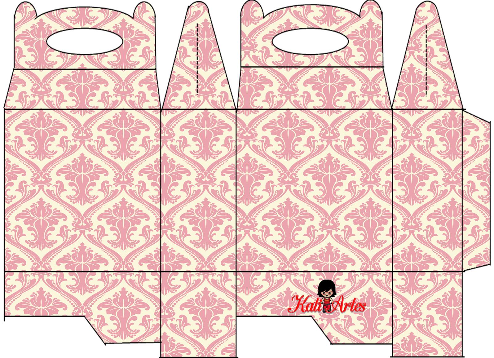 Damascos Rosa: Cajas para Lunch, para Imprimir Gratis. | FAVOR BOX ...