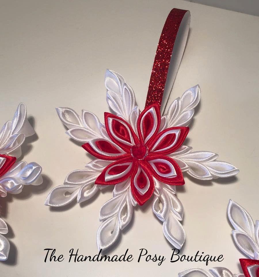 handmade kanzashi christmas snowflake by