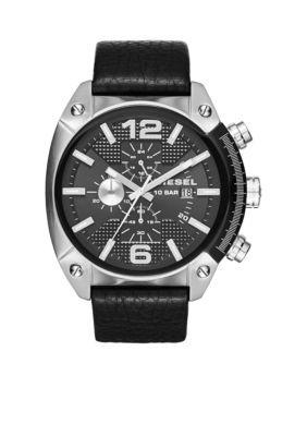 08b8d7adb60 Diesel Overflow Black Leather Strap Chronograph Watch