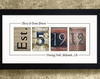 Numbers Photo Art Framed Wedding Date Personalized Gift Idea