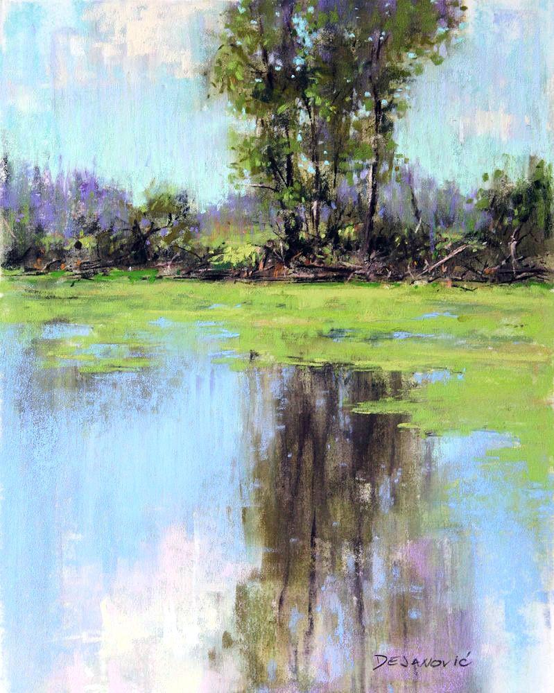 Dalibor Dejanovic Summer S Reflection Pastel 10x8 Pastel Landscape Reflection Painting Landscape Paintings