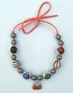 necklace with wooden beads and silver pendant, acrylic painting, leather cord
