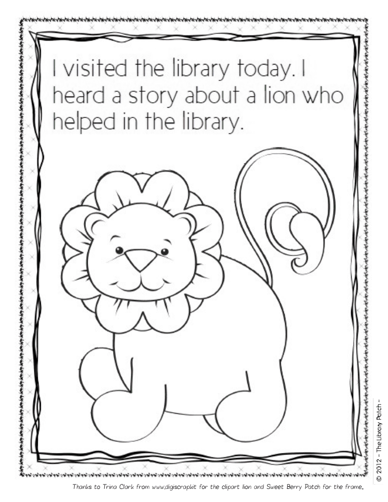 Library Lion Coloring Sheet.pdf - Google Drive | Library lessons ...