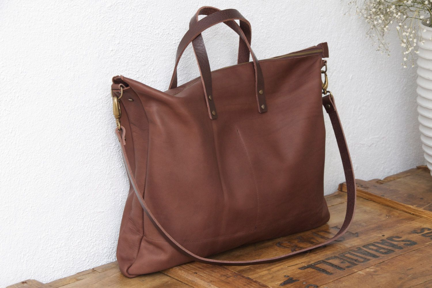 256f2170d3 Oversized Brown Leather bag with zip and Cross Body Strap. Handmade. by  VermutAtelier on Etsy