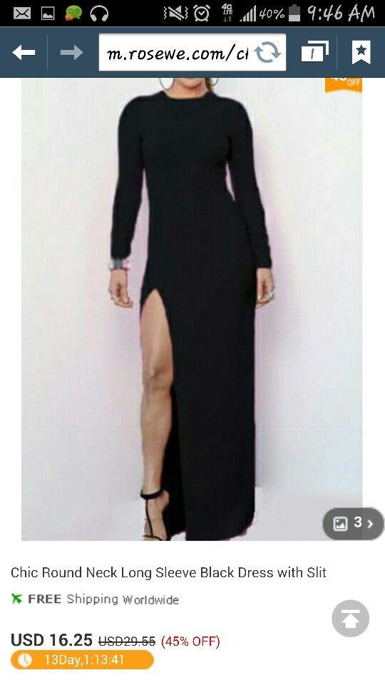 a80f20dbcbd17 Www.rosewe.com | fashion | Black long sleeve dress, Maxi dress with ...