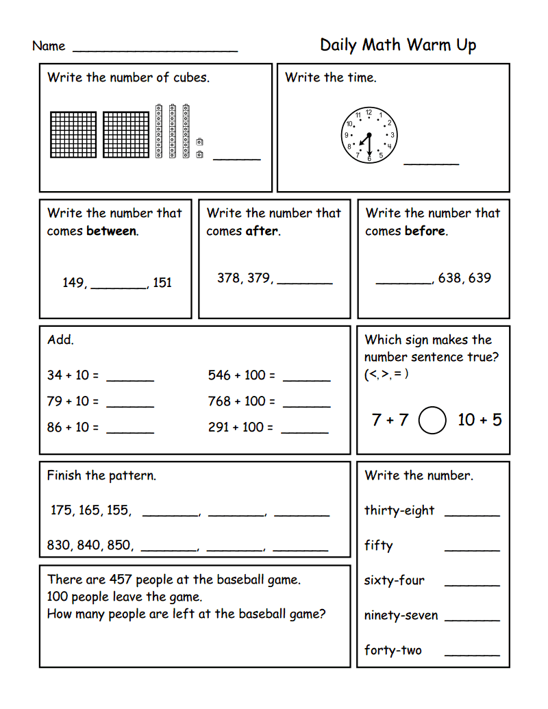Worksheets Math Warm Up Worksheets place value to 1 000 pdf google drive math pinterest smiling and shining in second grade morning work for grade