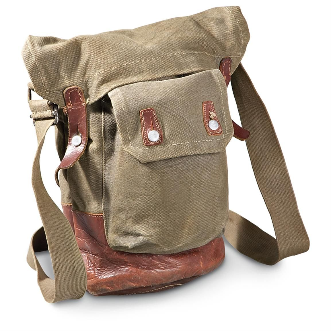 Used Swedish Military Surplus Vintage Gas Mask Bag Gray Brown 176501 Field Gear At Sportsman S Guide