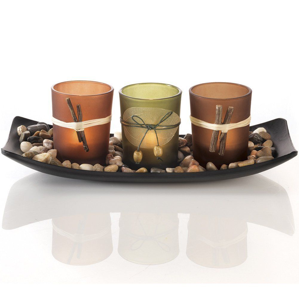 Natural candlescape set decorative candle holders rocks and tray