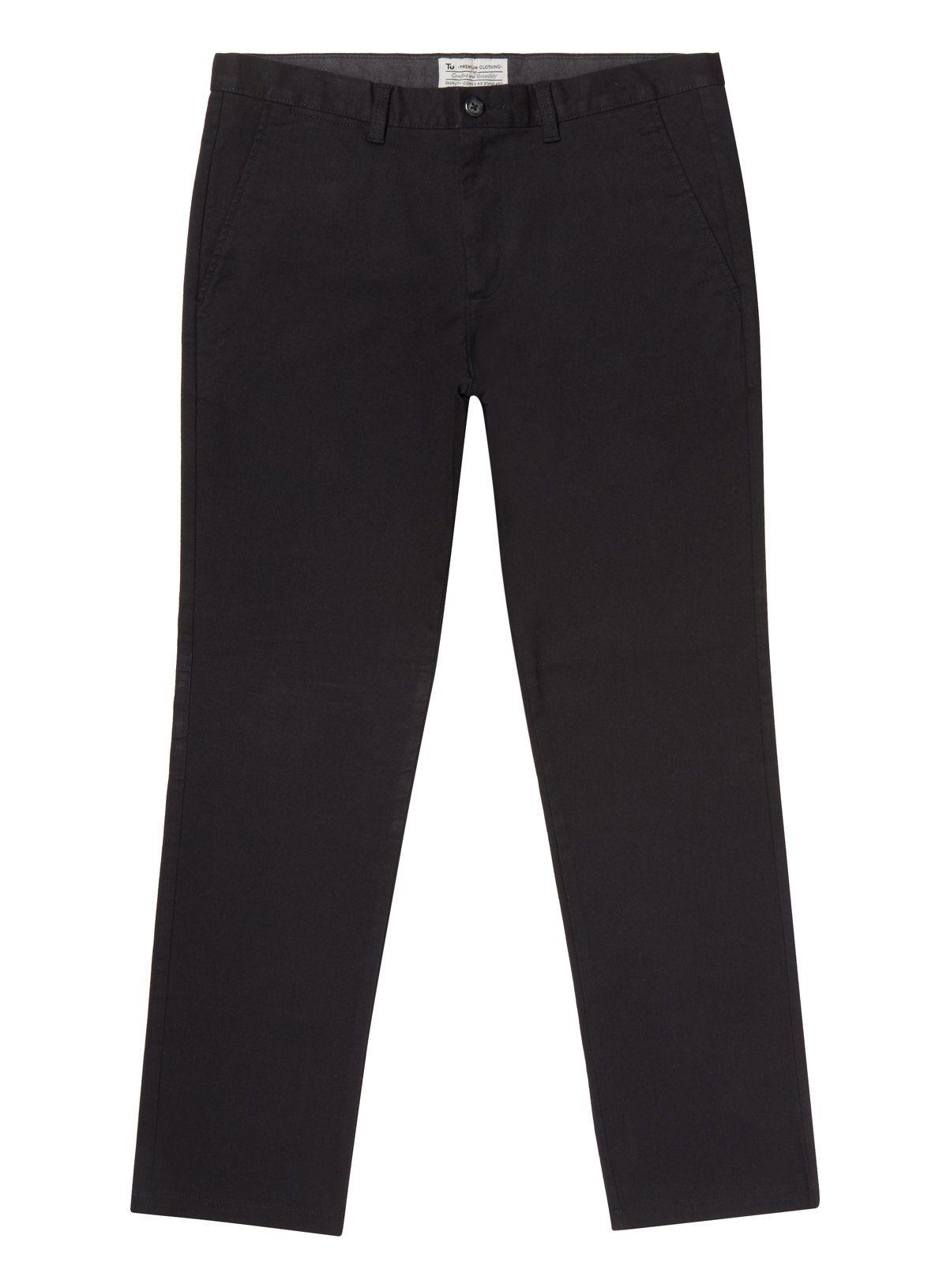Black Straight Leg Chinos With Stretch - W48 L32