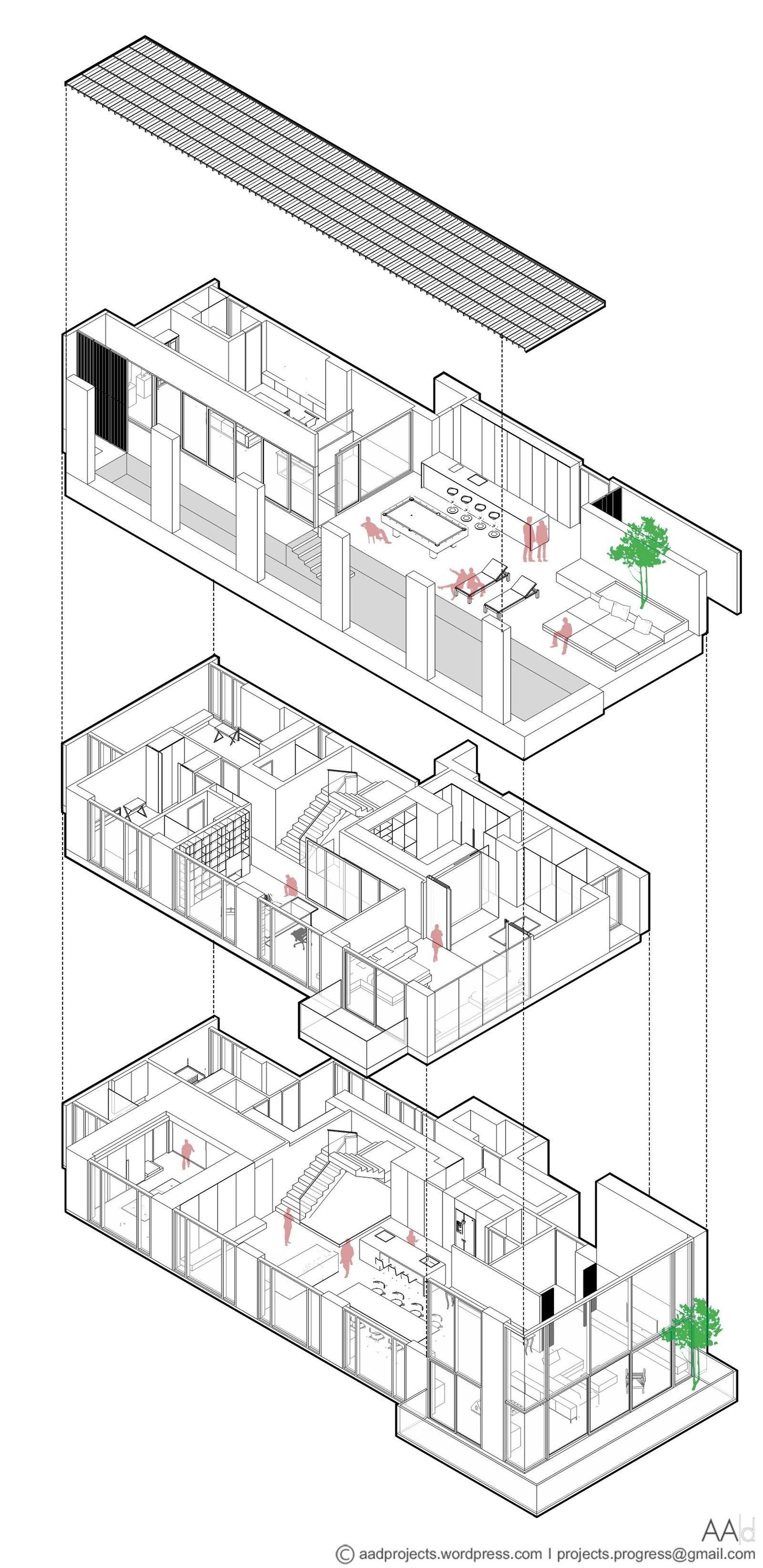 Um apartamento de cobertura de três andares em um arranha