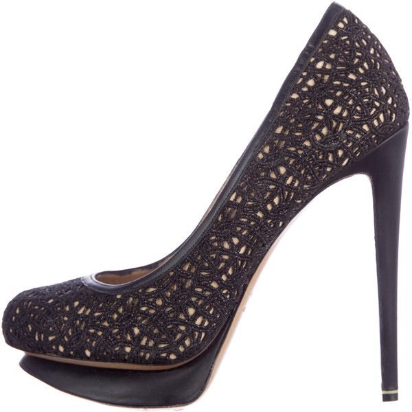 Pre-owned Nicholas Kirkwood Woven Round-Toe Pumps ($200) ❤ liked on Polyvore featuring shoes, pumps, black, black round toe pumps, black platform pumps, black pumps, woven shoes and black platform shoes