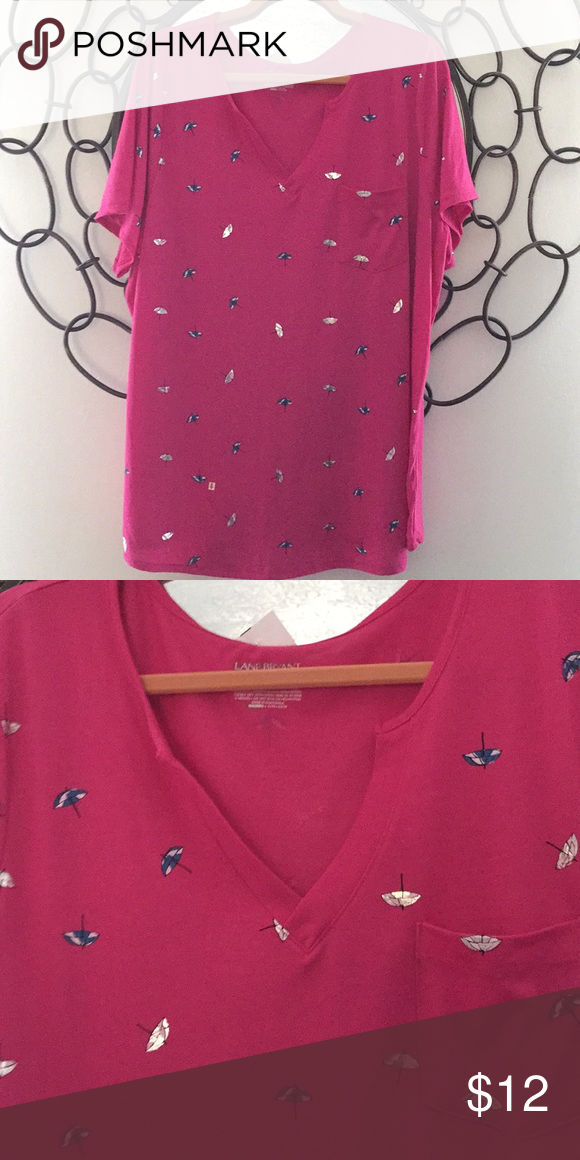 Pink Umbrella Tee New tee with a V-neck, shirt sleeve,soft and has cute umbrella print. Lane Bryant Tops Tees - Short Sleeve #cuteumbrellas