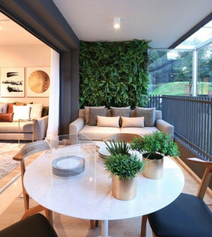 Mesa Sofa Y Jardin Vertical En Mi Balcon Balcony Decor