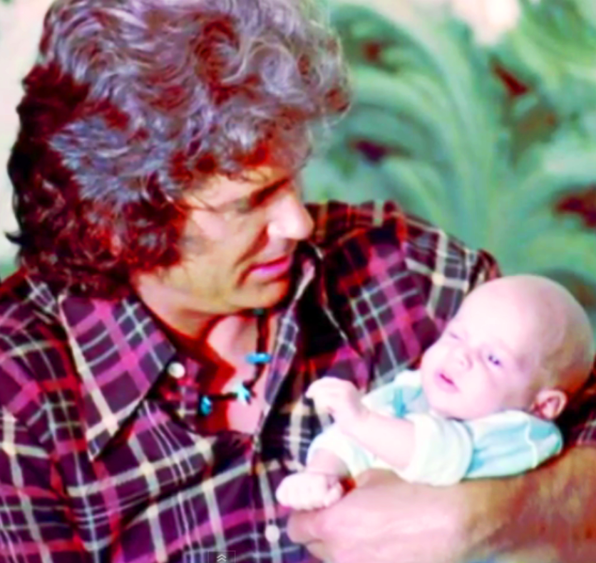 Michael Landon holding his newborn son: Christopher Beau.