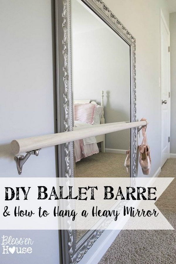 Diy Ballet Barre And How To Hang A Heavy Mirror Ballet Room Dance Rooms Home Dance