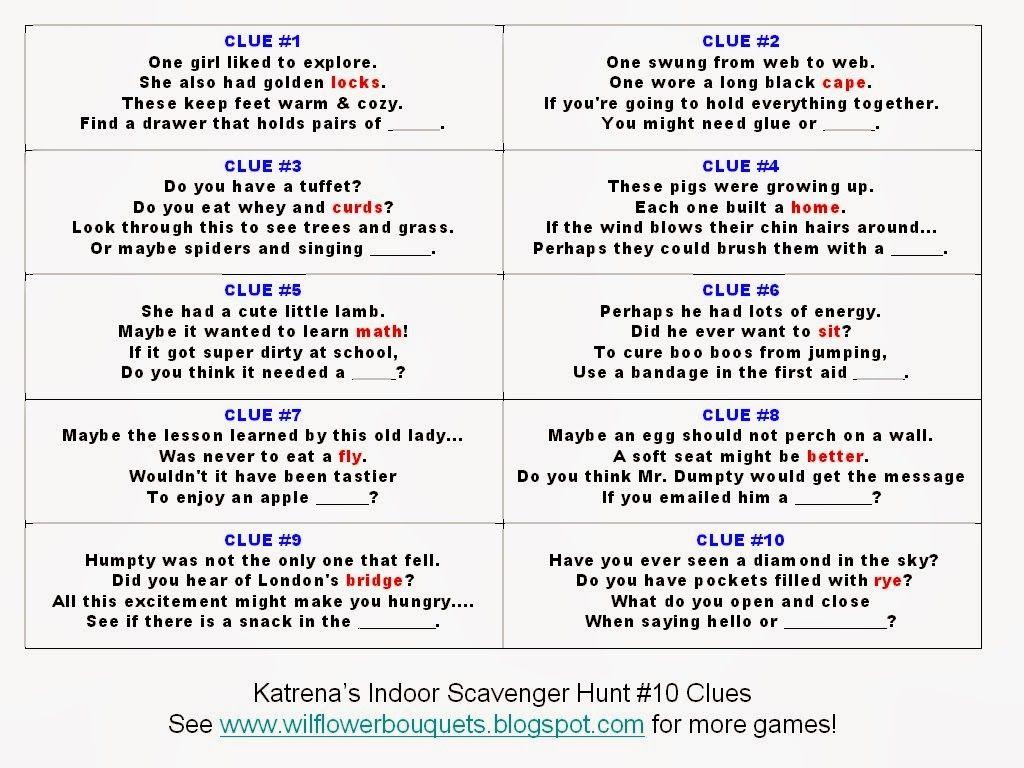 Katrena's Free Indoor Scavenger Hunt This scavenger hunt is