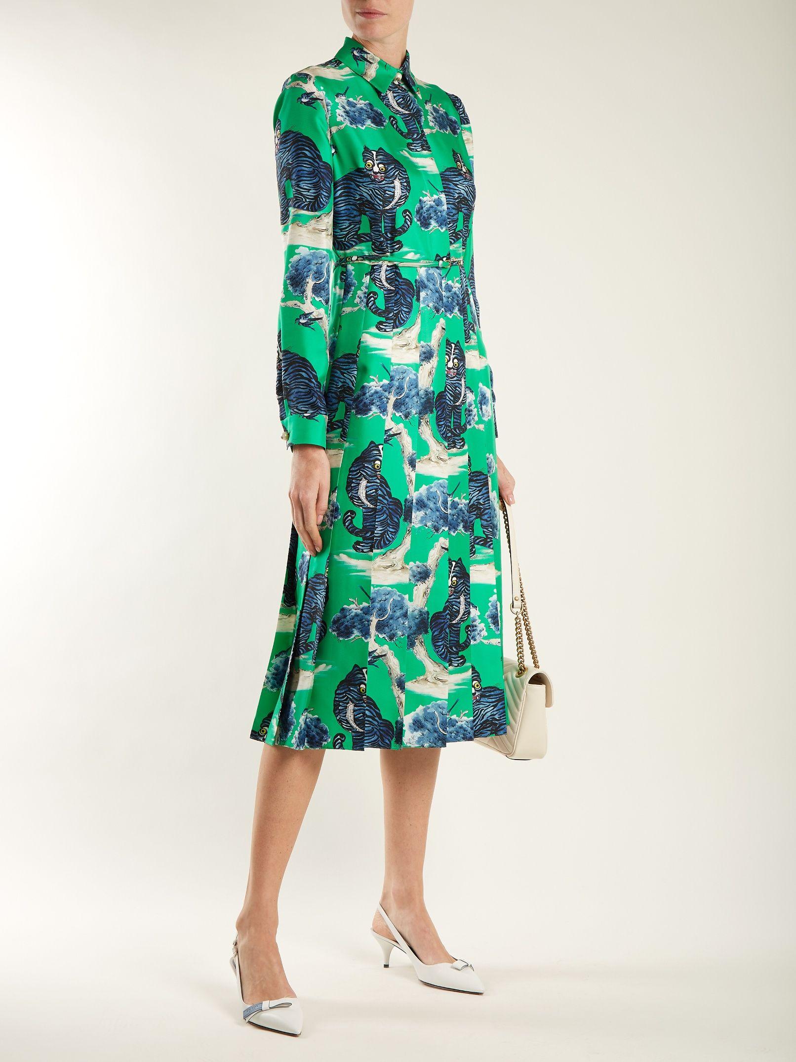 Wild cat-print silk-twill shirt dress Gucci edireZ