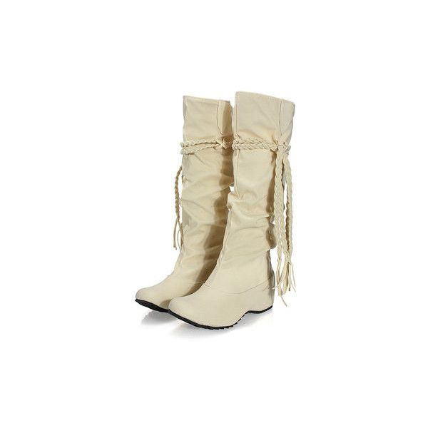 Women Casual Tassels Flat Round Toe Mid Calf Snow Boots ($19) ❤ liked on Polyvore featuring shoes, boots, beige, pull on boots, slipon boots, mid calf boots, mid calf flat boots and flat boots