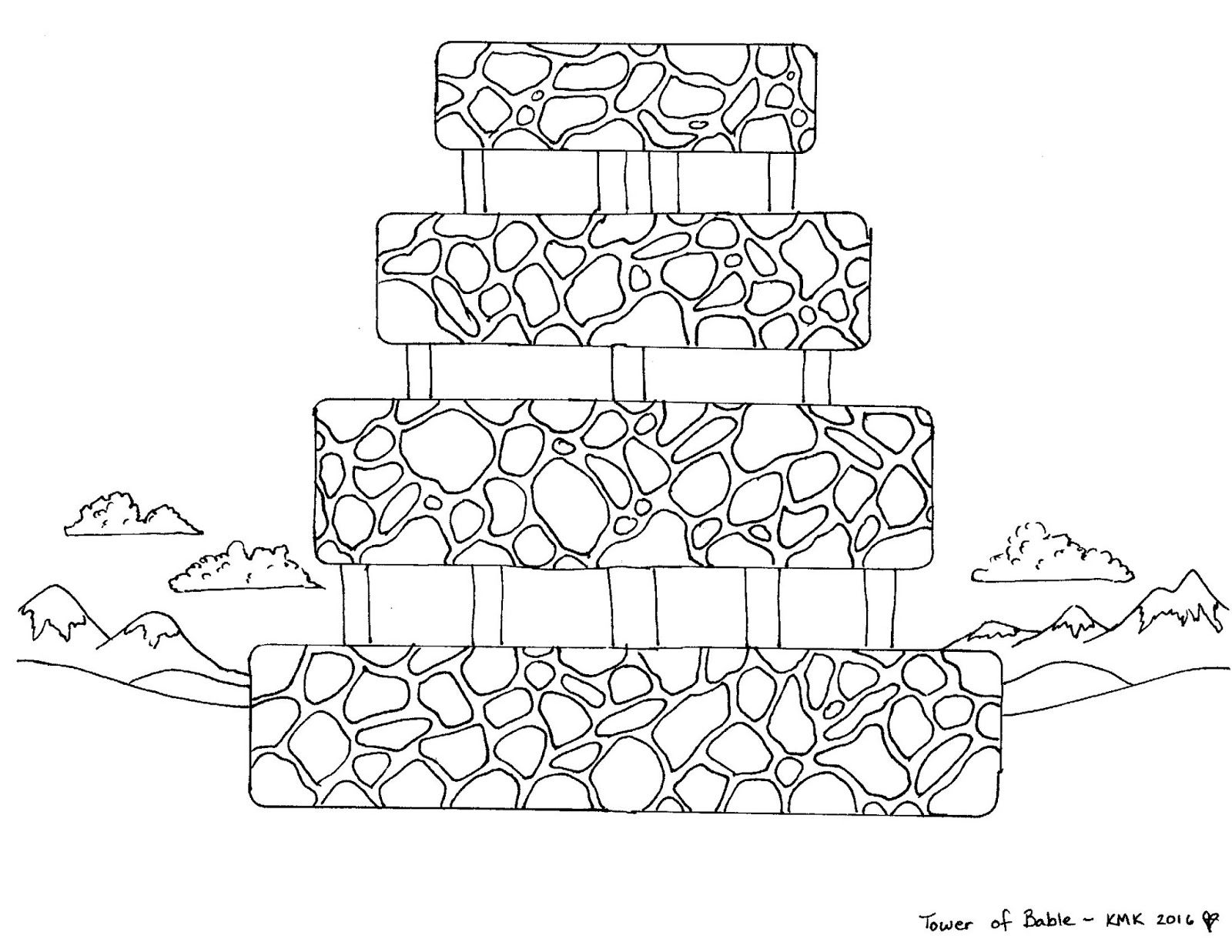 Babel's Tower: free pop-up coloring page printable