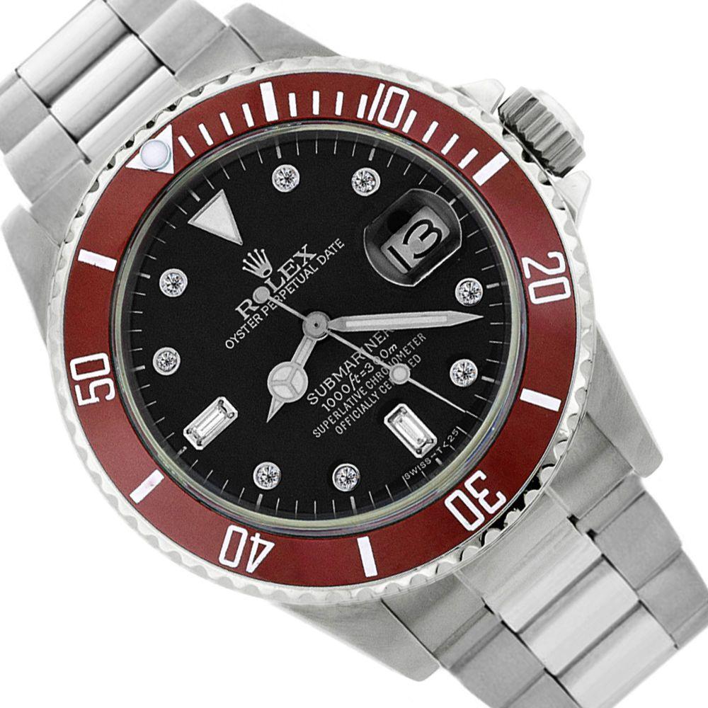 Rolex Red Submariner Date Stainless Steel Sport Watch