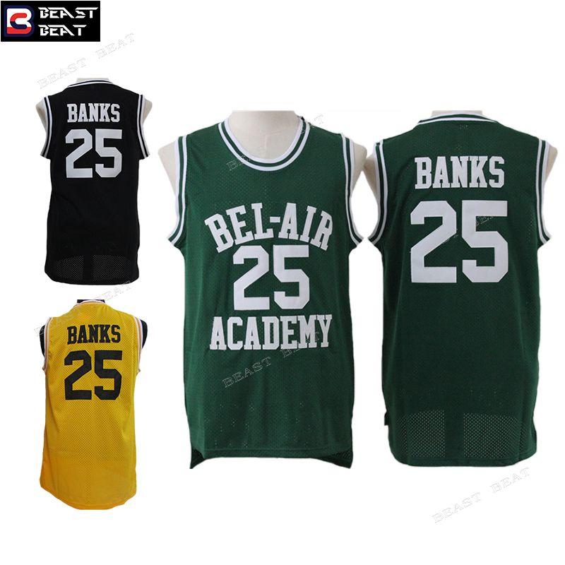 4a7d56ec4cf2 Fresh Prince of Bel-Air  25 Banks Bel-Air Academy Basketball Jerseys 3  Colors Throwback Cheap Jersey