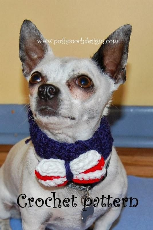 Patriotic Bow Tie For Dogs, Pets and Humans | CROCHET ;vestidos para ...