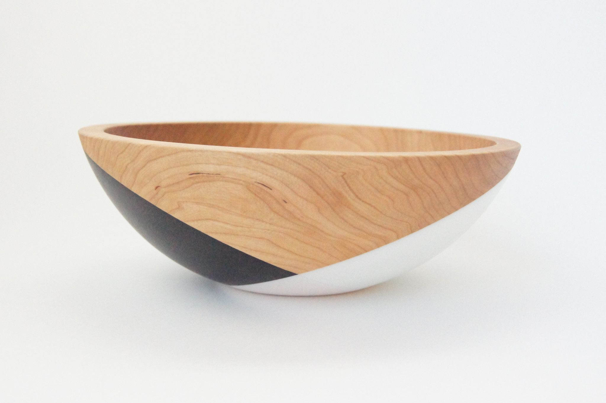 Wooden Cherry bowl by Wind and Willow Home Black and White Crossed pattern