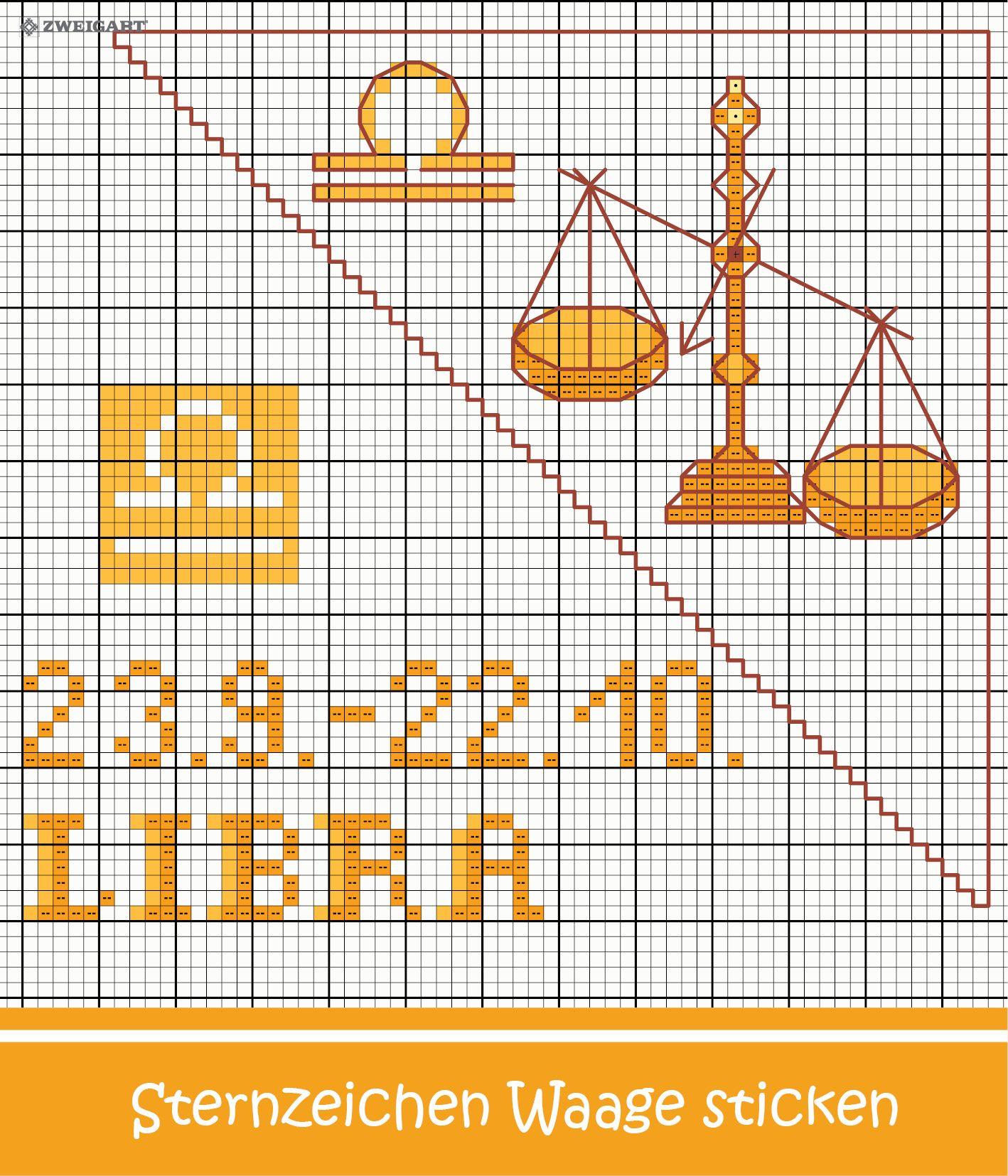 Sternzeichen Waage Entdecke Zahlreiche Kostenlose Charts Zum Sticken Sternzeichen Stickmotive Kreuzstichmuster