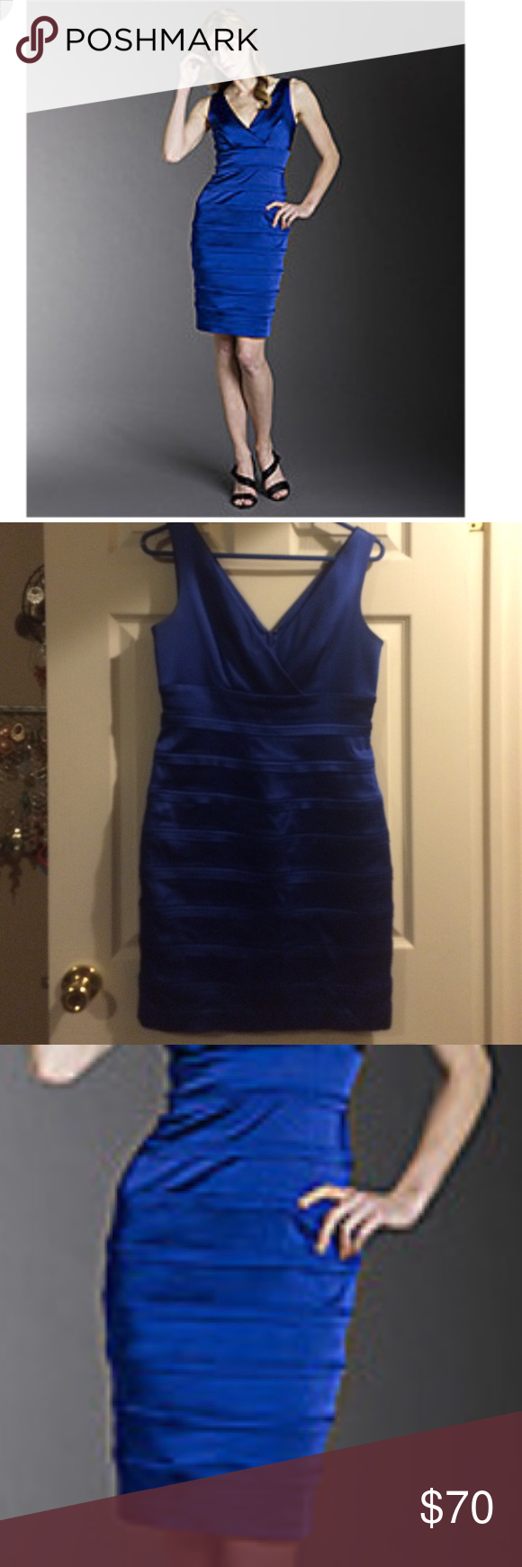 79c1a01b1405 Calvin Klein V neck banded satin royal blue dress Royal diamond blue banded  cocktail dress with zip back. This is a gorgeous piece.