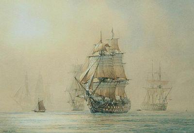 Dream-art seascape Oil painting Turner The Battle of Trafalgar hand painted