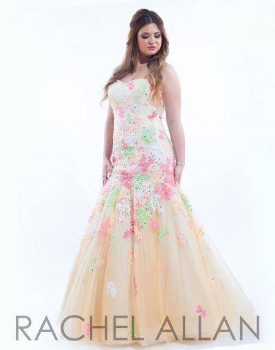 Rachel Allan 7038 Plus Size Prom Dress- Lace applique cover this ...